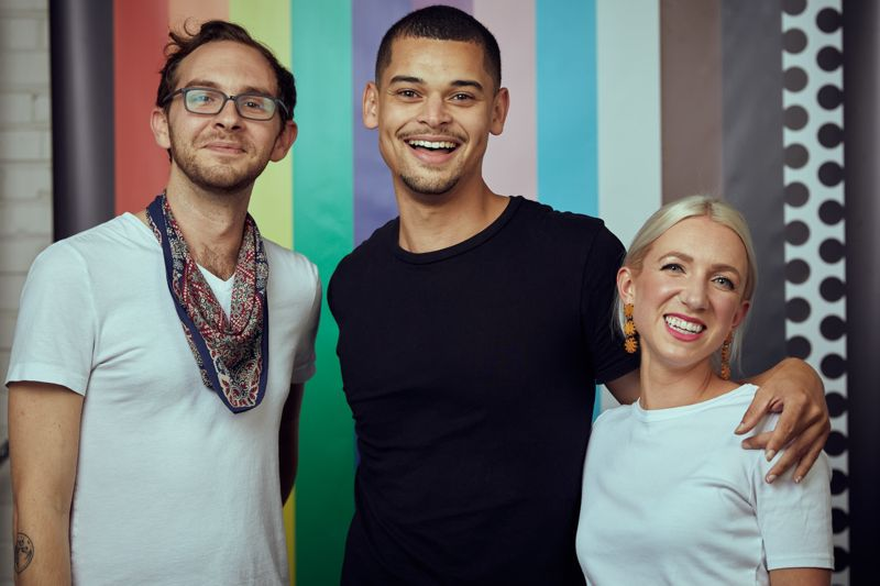 Raleigh Pride organizers Joshua Lamm, Trey Roberts, and Roxanne Lundy