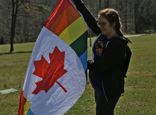 Jenna with Canadian Pride Flag