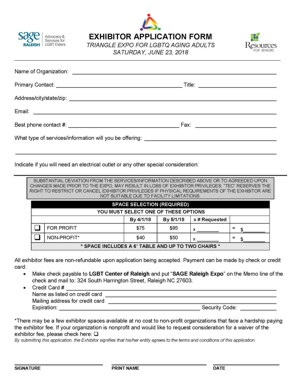 Triangle Expo for LGBTQ Aging Adults Exhibitor Form